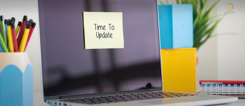 sticky note, laptop, time to update, workstation, website revamp, pen holder, desk plant, notebook