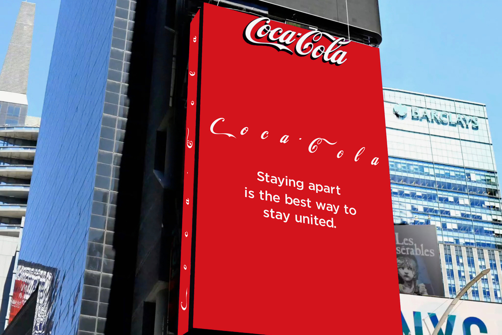 coca-cola, social distancing logo, staying apart is the best way to stay united, coke, times square, billboard