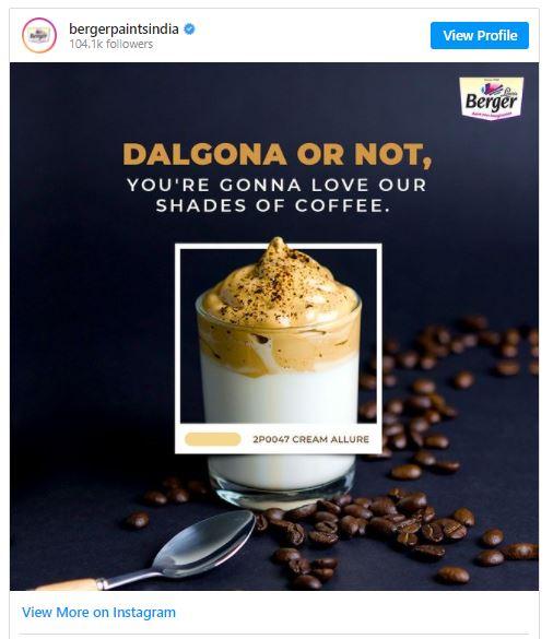 Dalgona Coffee, Berger Paints India, Cream Allure, Paint Your Imagination