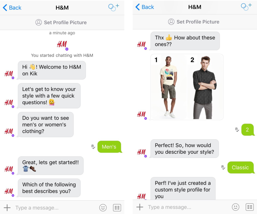 H&M, chatbot, men's clothing, messenger, chat