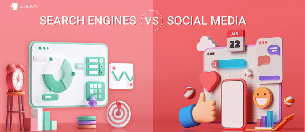 Search Engines vs. Social Media, thumbs up, icons, smiley, graph, chart, seo, sem