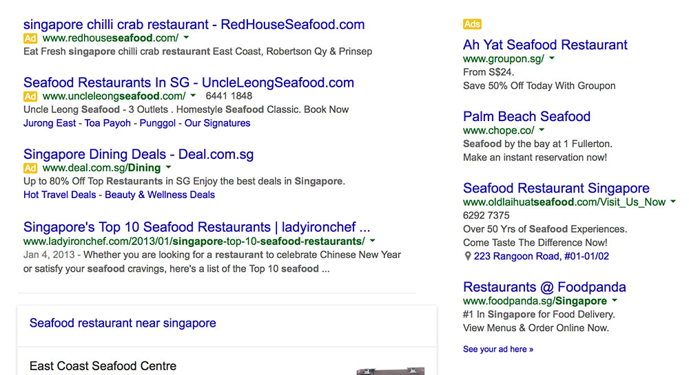 Ads for Keyword - Seafood Restaurant Singapore - On Google - 2Stallions